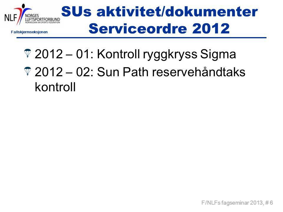 Fallskjermseksjonen F/NLFs fagseminar 2013, # 7 SUs aktivitet/dokumenter Serviceordre 2013 2013 – 01: UPT staging loop 2013 – 02: Cypres funkskjonskontroll 2013 – 03: Sunpath kontroll av kuttkabler