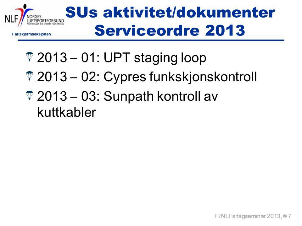 Fallskjermseksjonen F/NLFs fagseminar 2013, # 7 SUs aktivitet/dokumenter Serviceordre 2013 2013 – 01: UPT staging loop 2013 – 02: Cypres funkskjonskon