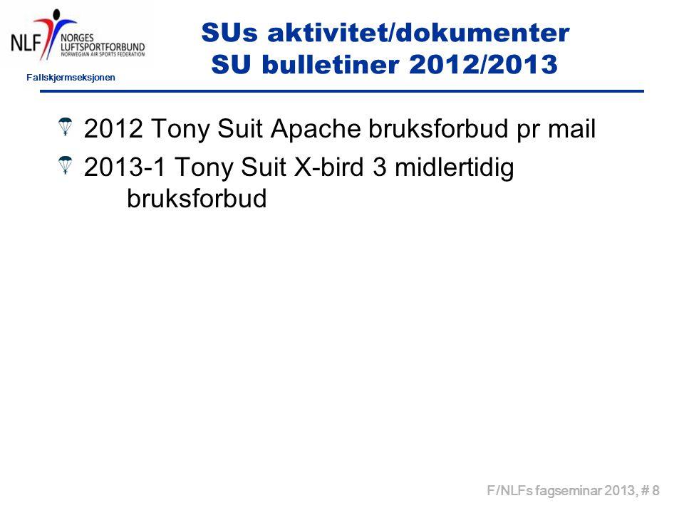 Fallskjermseksjonen F/NLFs fagseminar 2013, # 8 SUs aktivitet/dokumenter SU bulletiner 2012/2013 2012 Tony Suit Apache bruksforbud pr mail 2013-1 Tony