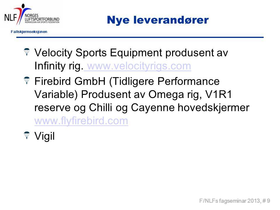 Fallskjermseksjonen F/NLFs fagseminar 2013, # 9 Nye leverandører Velocity Sports Equipment produsent av Infinity rig. www.velocityrigs.com www.velocit