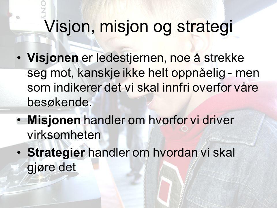 Bergen Vitensenter AS10 Visjon, misjon og strategi •Visjonen er ledestjernen, noe å strekke seg mot, kanskje ikke helt oppnåelig - men som indikerer det vi skal innfri overfor våre besøkende.