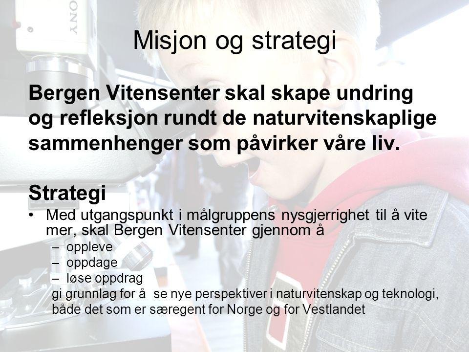 Bergen Vitensenter AS12 Misjon og strategi Bergen Vitensenter skal skape undring og refleksjon rundt de naturvitenskaplige sammenhenger som påvirker våre liv.