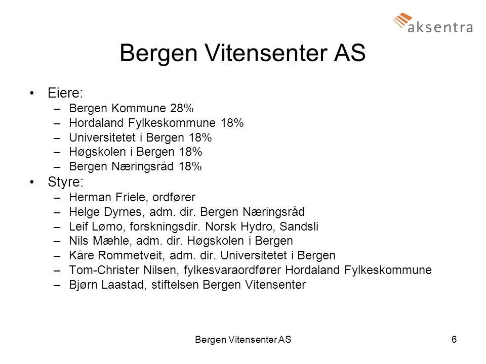 Bergen Vitensenter AS6 •Eiere: –Bergen Kommune 28% –Hordaland Fylkeskommune 18% –Universitetet i Bergen 18% –Høgskolen i Bergen 18% –Bergen Næringsråd 18% •Styre: –Herman Friele, ordfører –Helge Dyrnes, adm.