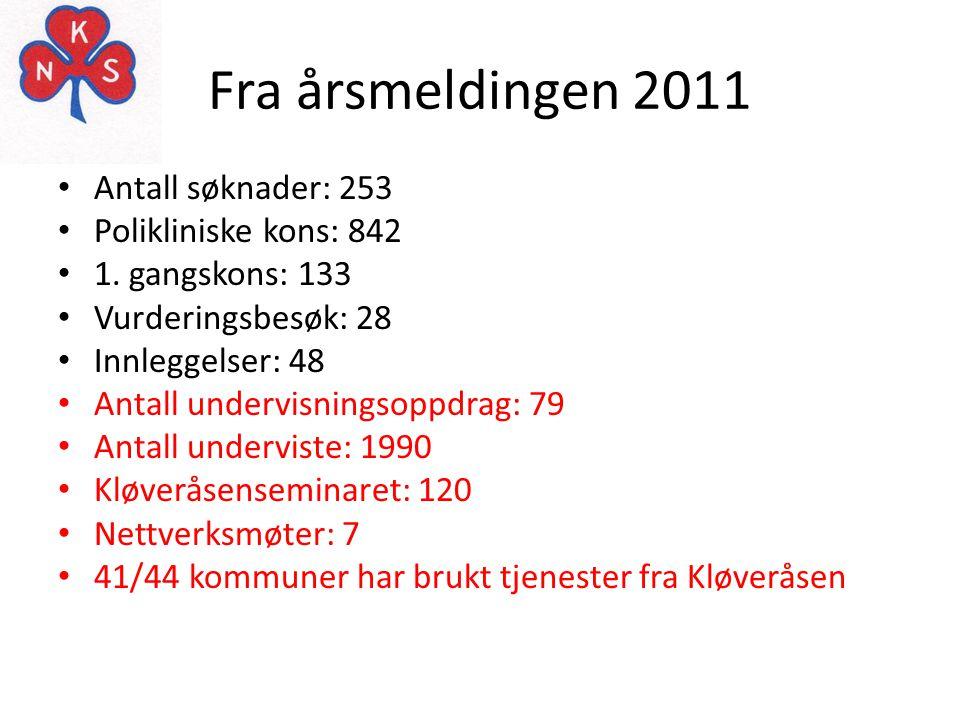 Fra årsmeldingen 2011 • Antall søknader: 253 • Polikliniske kons: 842 • 1. gangskons: 133 • Vurderingsbesøk: 28 • Innleggelser: 48 • Antall undervisni