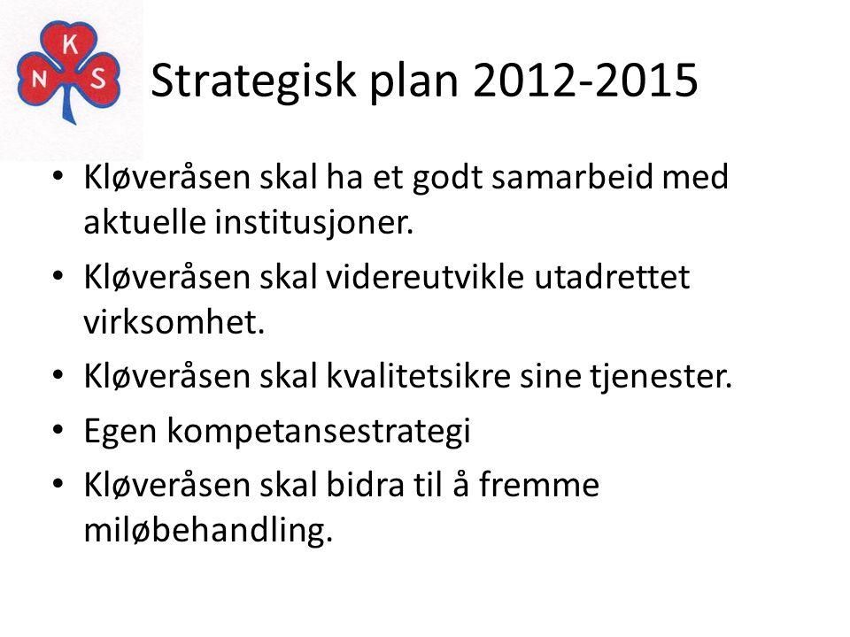 Strategisk plan 2012-2015 • Kløveråsen skal ha et godt samarbeid med aktuelle institusjoner. • Kløveråsen skal videreutvikle utadrettet virksomhet. •