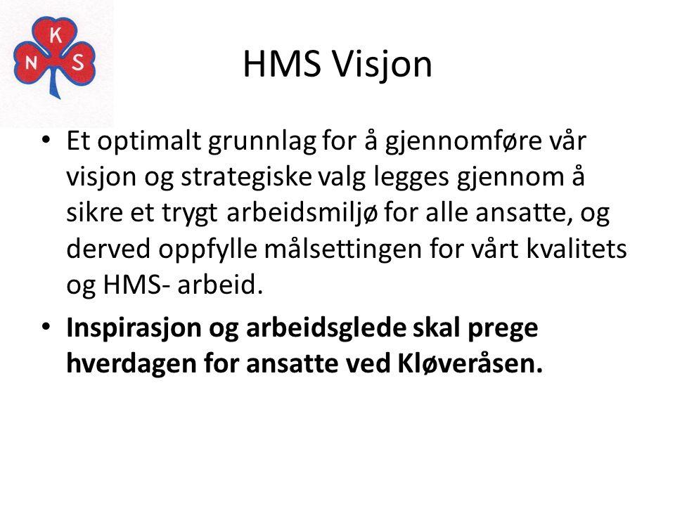 HMS Visjon • Et optimalt grunnlag for å gjennomføre vår visjon og strategiske valg legges gjennom å sikre et trygt arbeidsmiljø for alle ansatte, og d