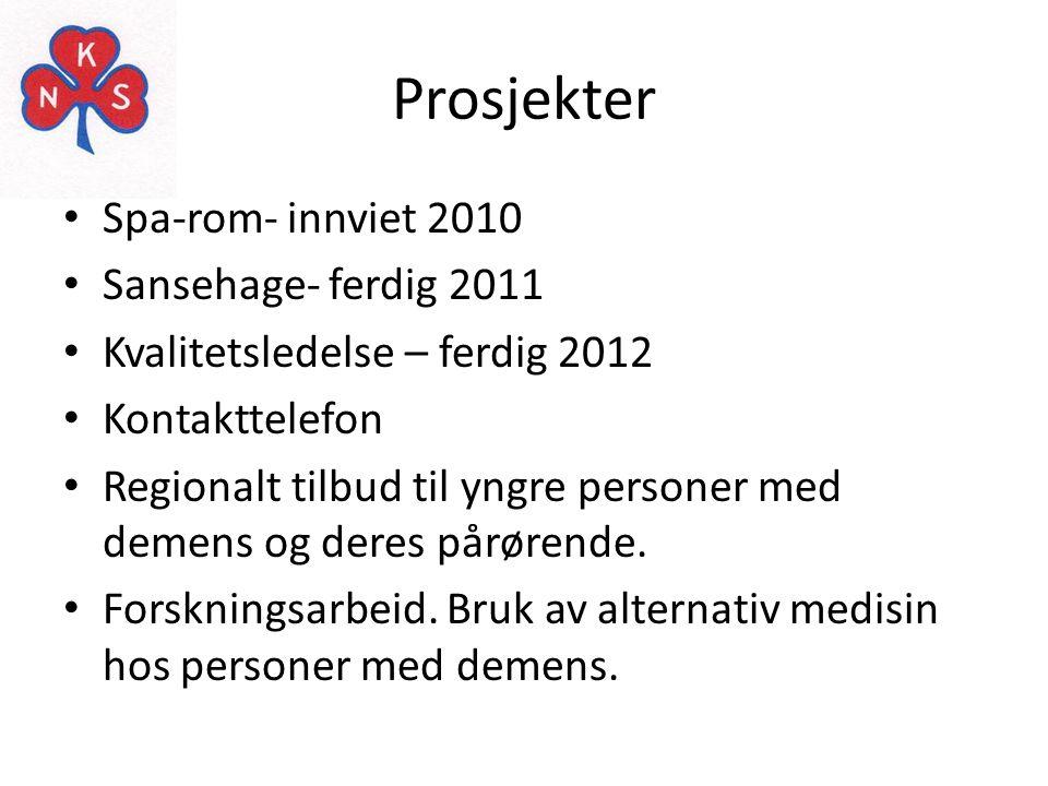 Prosjekter • Spa-rom- innviet 2010 • Sansehage- ferdig 2011 • Kvalitetsledelse – ferdig 2012 • Kontakttelefon • Regionalt tilbud til yngre personer me