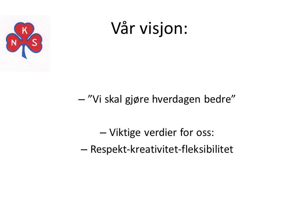 """Vår visjon: – """"Vi skal gjøre hverdagen bedre"""" – Viktige verdier for oss: – Respekt-kreativitet-fleksibilitet"""