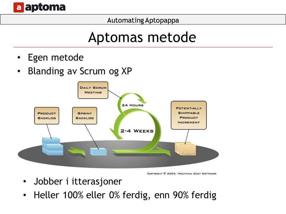 • Egen metode • Blanding av Scrum og XP Aptomas metode • Jobber i itterasjoner • Heller 100% eller 0% ferdig, enn 90% ferdig