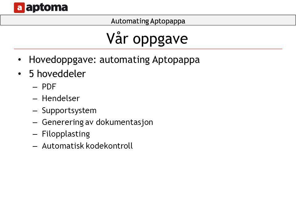 • Hovedoppgave: automating Aptopappa • 5 hoveddeler – PDF – Hendelser – Supportsystem – Generering av dokumentasjon – Filopplasting – Automatisk kodek