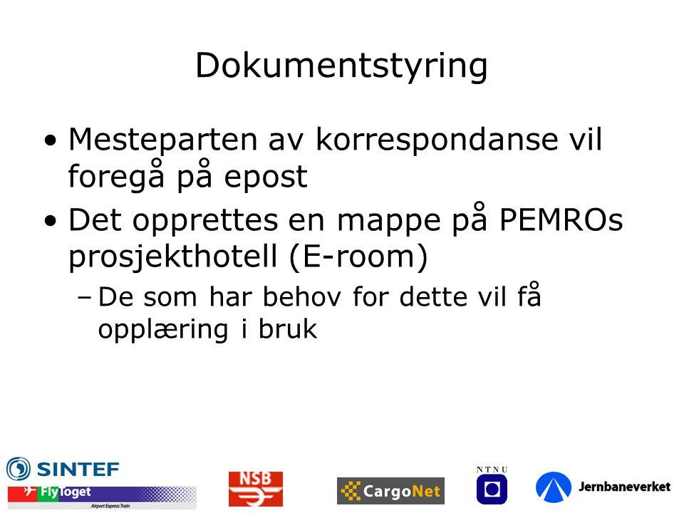 Dokumentstyring •Mesteparten av korrespondanse vil foregå på epost •Det opprettes en mappe på PEMROs prosjekthotell (E-room) –De som har behov for det