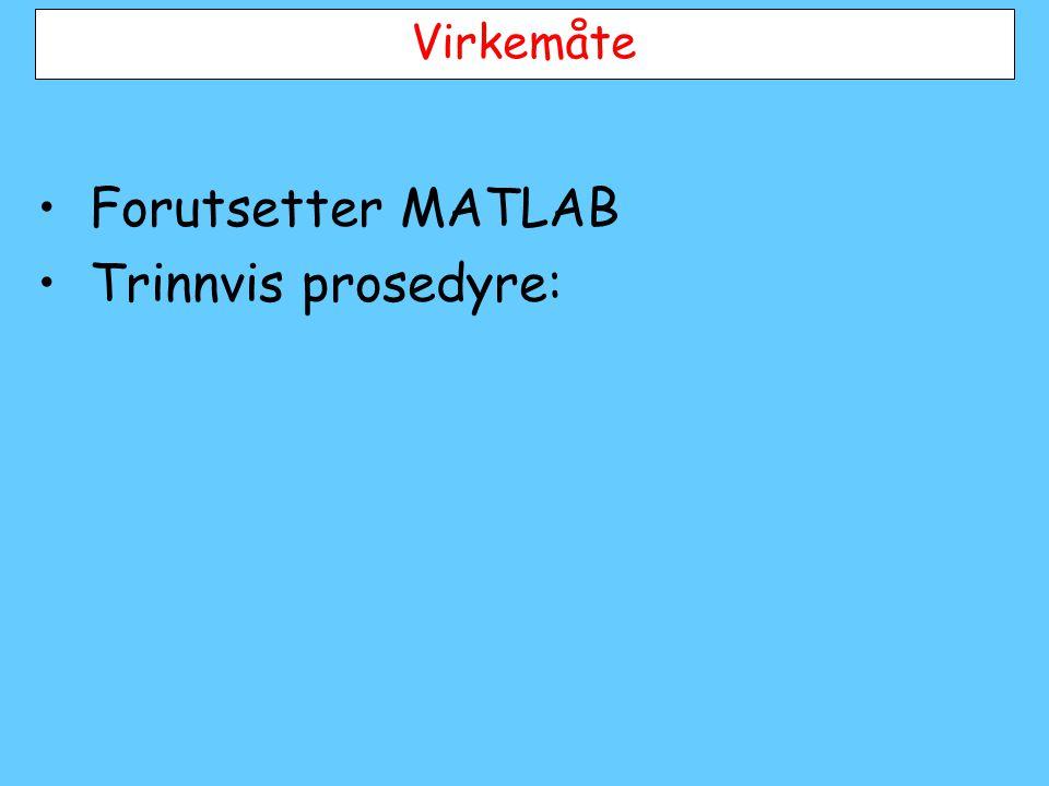 Virkemåte •Forutsetter MATLAB •Trinnvis prosedyre: