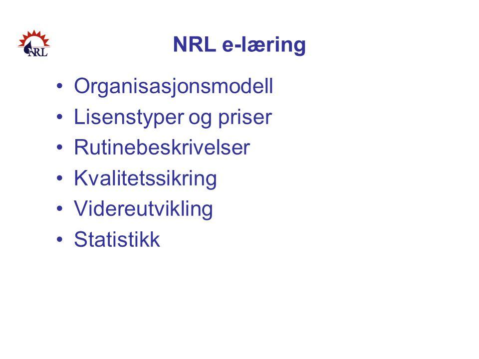 NRL e-læring •Organisasjonsmodell •Lisenstyper og priser •Rutinebeskrivelser •Kvalitetssikring •Videreutvikling •Statistikk