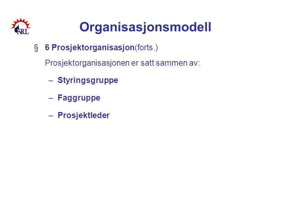 Organisasjonsmodell §6 Prosjektorganisasjon(forts.) Prosjektorganisasjonen er satt sammen av: –Styringsgruppe –Faggruppe –Prosjektleder