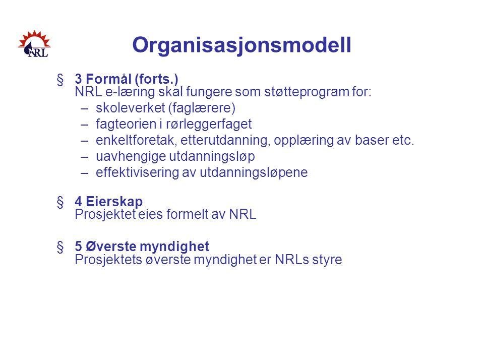 Organisasjonsmodell §3 Formål (forts.) NRL e-læring skal fungere som støtteprogram for: –skoleverket (faglærere) –fagteorien i rørleggerfaget –enkeltf