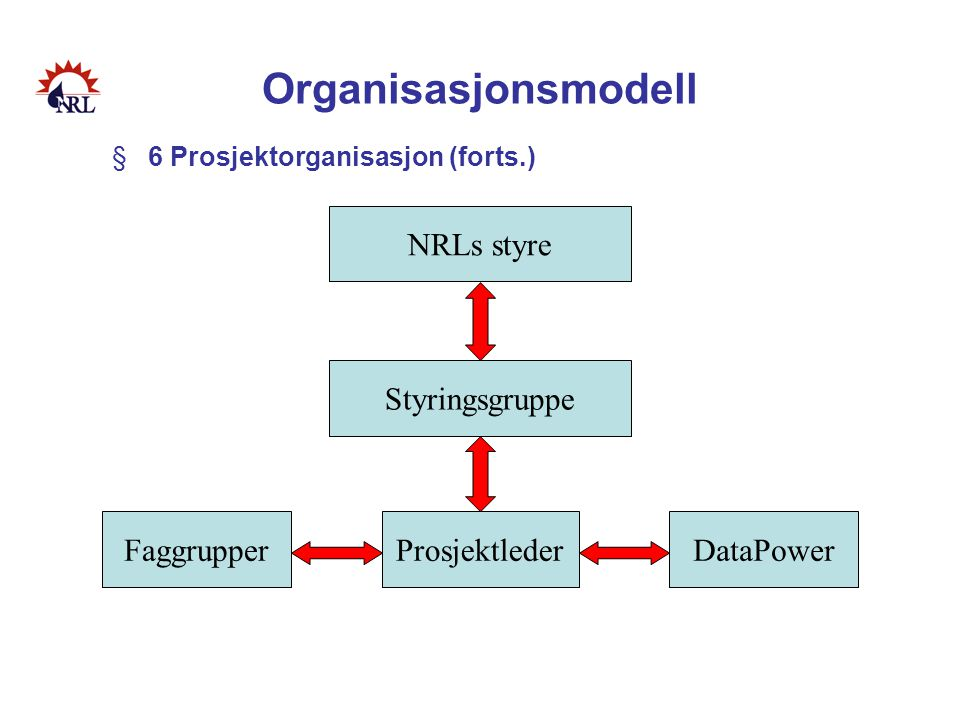Organisasjonsmodell §6 Prosjektorganisasjon (forts.) NRLs styre Styringsgruppe FaggrupperProsjektlederDataPower