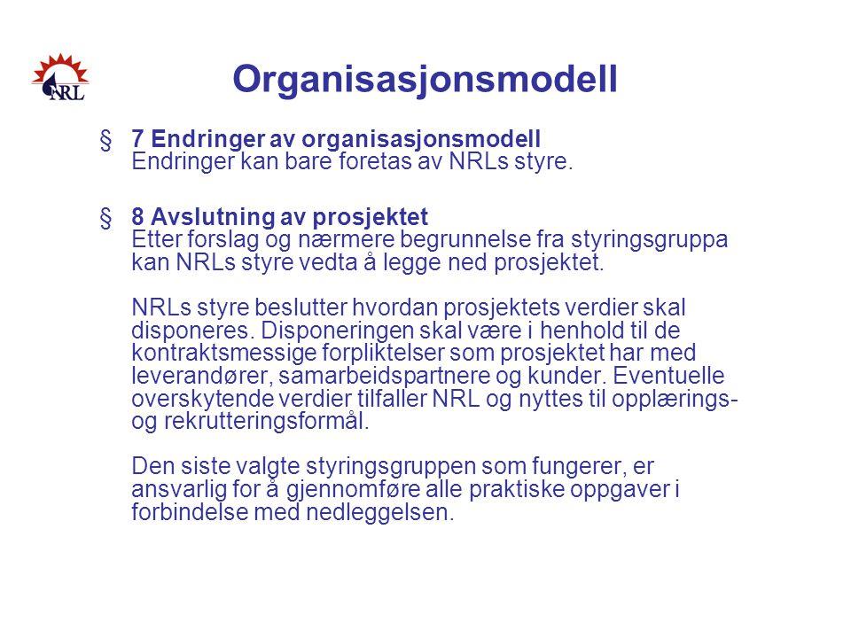 Organisasjonsmodell §7 Endringer av organisasjonsmodell Endringer kan bare foretas av NRLs styre. §8 Avslutning av prosjektet Etter forslag og nærmere