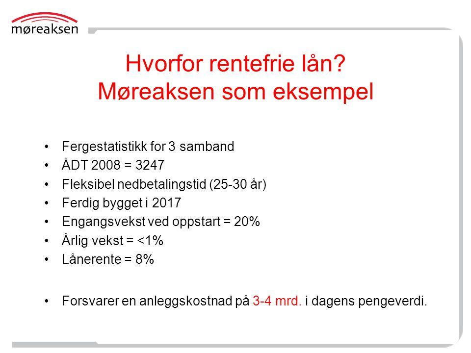 Hvorfor rentefrie lån? Møreaksen som eksempel •Fergestatistikk for 3 samband •ÅDT 2008 = 3247 •Fleksibel nedbetalingstid (25-30 år) •Ferdig bygget i 2