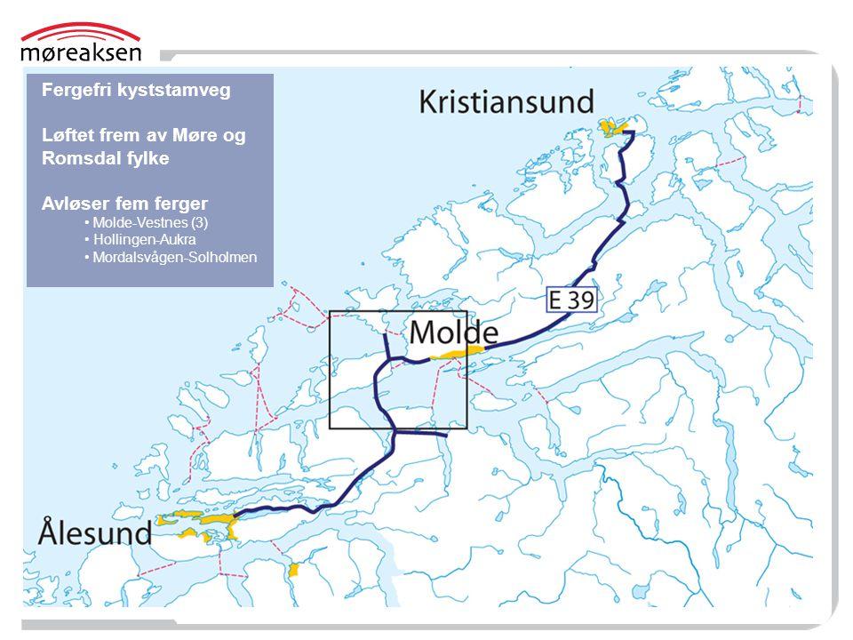 Fergefri kyststamveg Løftet frem av Møre og Romsdal fylke Avløser fem ferger • Molde-Vestnes (3) • Hollingen-Aukra • Mordalsvågen-Solholmen