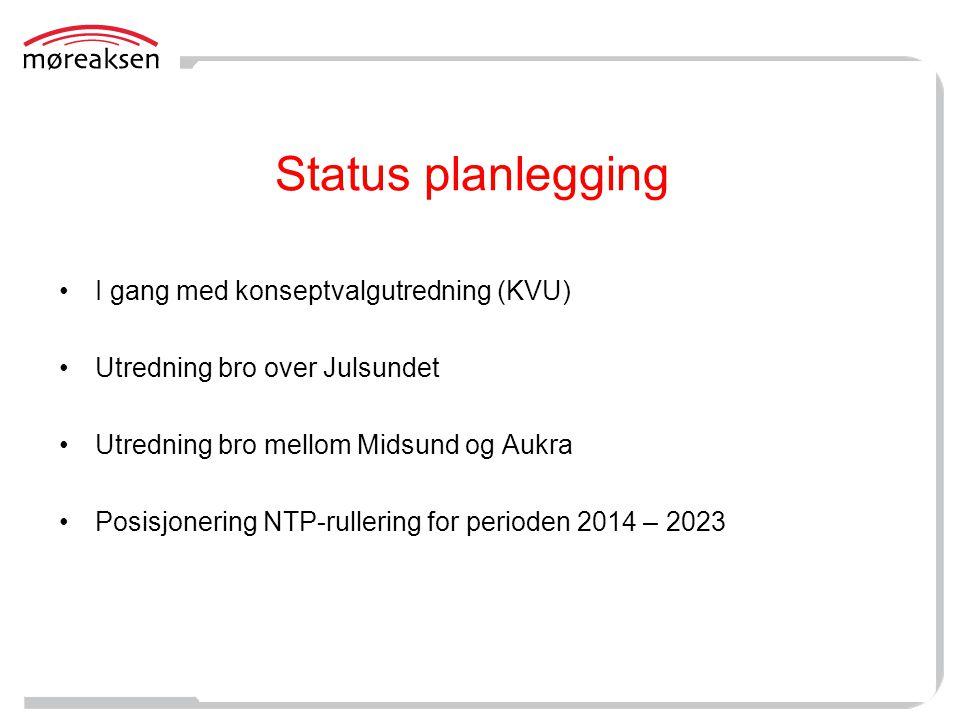 Status planlegging •I gang med konseptvalgutredning (KVU) •Utredning bro over Julsundet •Utredning bro mellom Midsund og Aukra •Posisjonering NTP-rull