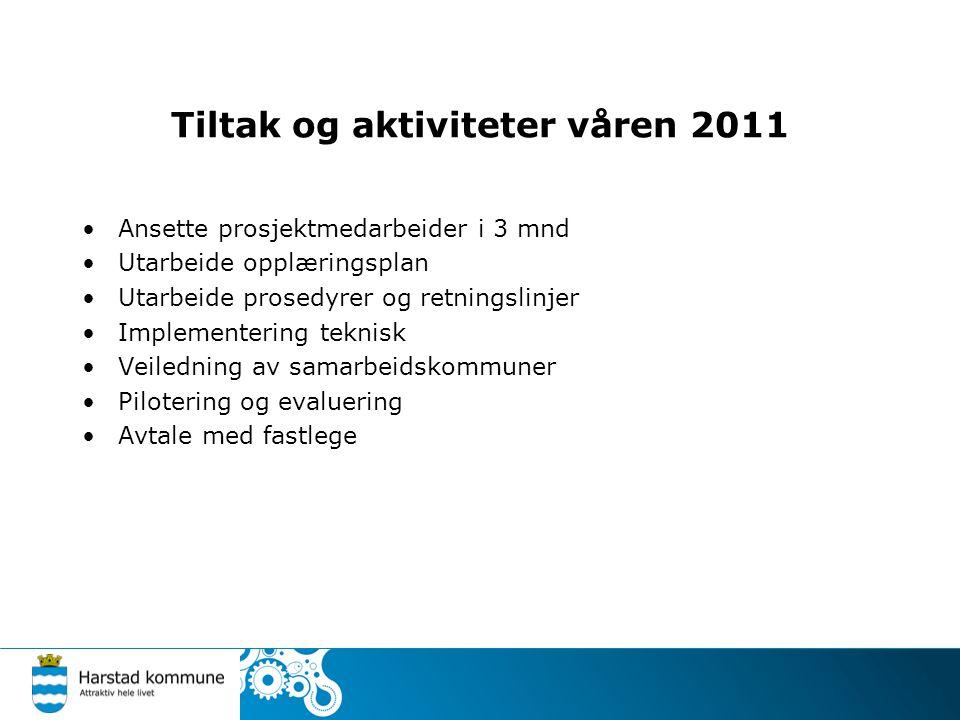 Tiltak og aktiviteter våren 2011 •Ansette prosjektmedarbeider i 3 mnd •Utarbeide opplæringsplan •Utarbeide prosedyrer og retningslinjer •Implementerin