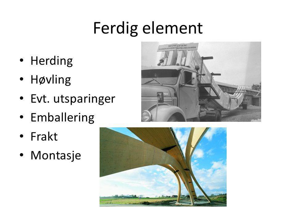 Ferdig element • Herding • Høvling • Evt. utsparinger • Emballering • Frakt • Montasje