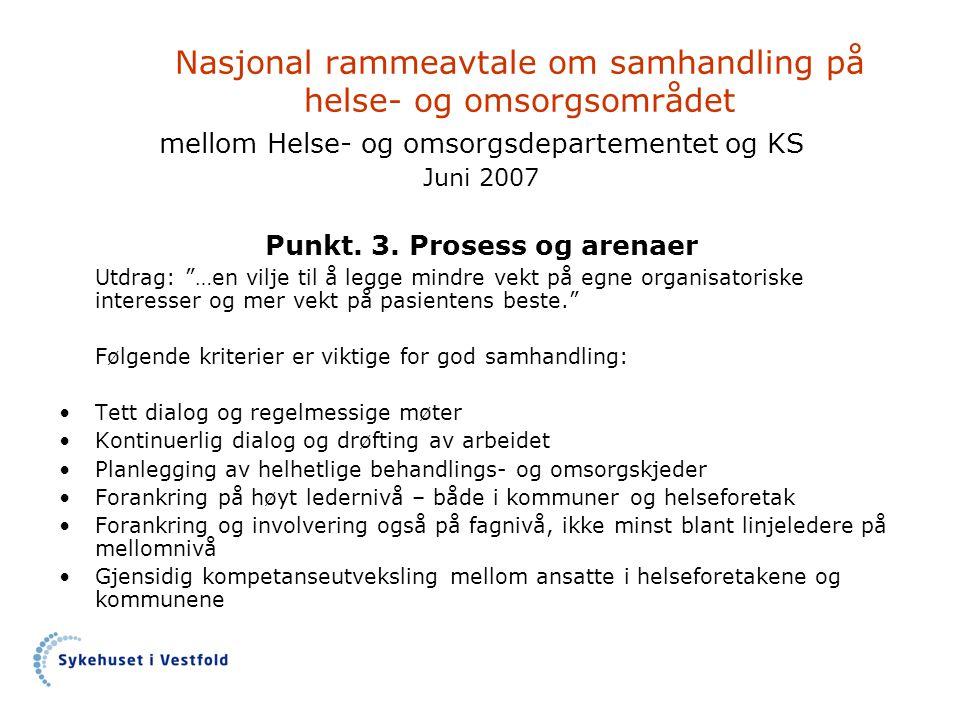 Nasjonal rammeavtale om samhandling på helse- og omsorgsområdet mellom Helse- og omsorgsdepartementet og KS Juni 2007 Punkt. 3. Prosess og arenaer Utd