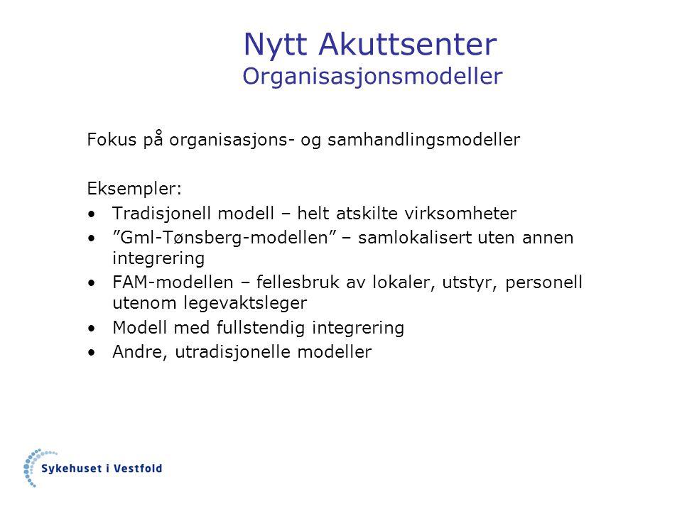"""Nytt Akuttsenter Organisasjonsmodeller Fokus på organisasjons- og samhandlingsmodeller Eksempler: •Tradisjonell modell – helt atskilte virksomheter •"""""""