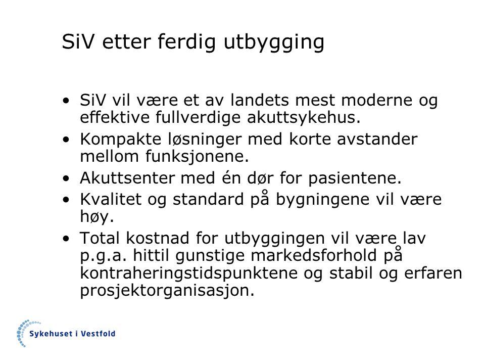 SiV etter ferdig utbygging •SiV vil være et av landets mest moderne og effektive fullverdige akuttsykehus. •Kompakte løsninger med korte avstander mel