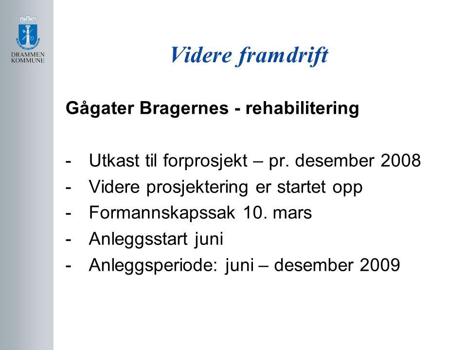 Videre framdrift Gågater Bragernes - rehabilitering -Utkast til forprosjekt – pr. desember 2008 -Videre prosjektering er startet opp -Formannskapssak