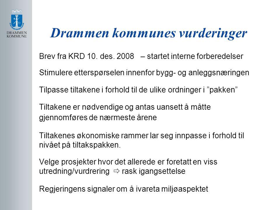 Drammen kommunes vurderinger Brev fra KRD 10. des. 2008 – startet interne forberedelser Stimulere etterspørselen innenfor bygg- og anleggsnæringen Til