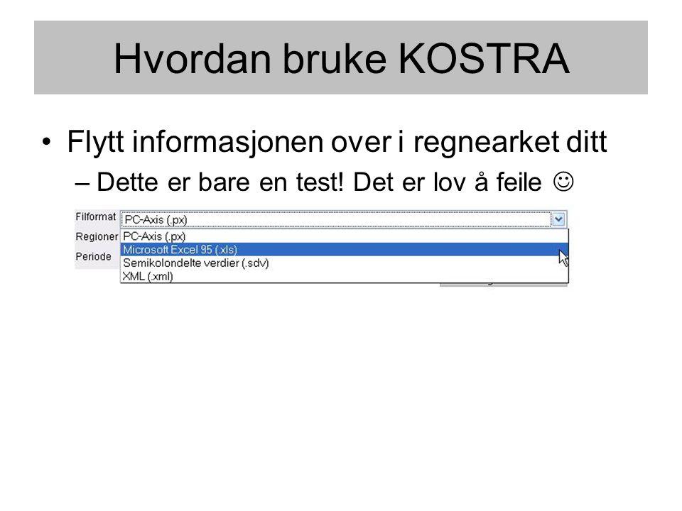 Hvordan bruke KOSTRA •Flytt informasjonen over i regnearket ditt –Dette er bare en test! Det er lov å feile 
