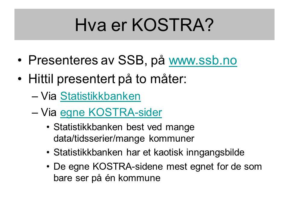 Hva er KOSTRA? •Presenteres av SSB, på www.ssb.nowww.ssb.no •Hittil presentert på to måter: –Via StatistikkbankenStatistikkbanken –Via egne KOSTRA-sid