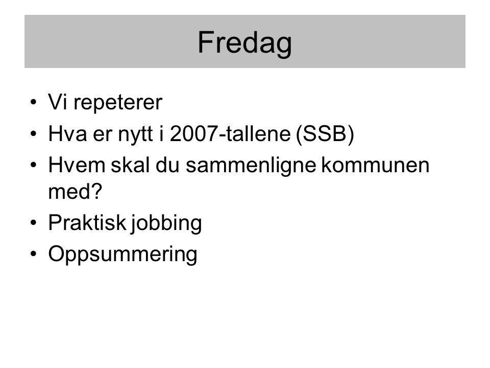 Fredag •Vi repeterer •Hva er nytt i 2007-tallene (SSB) •Hvem skal du sammenligne kommunen med? •Praktisk jobbing •Oppsummering
