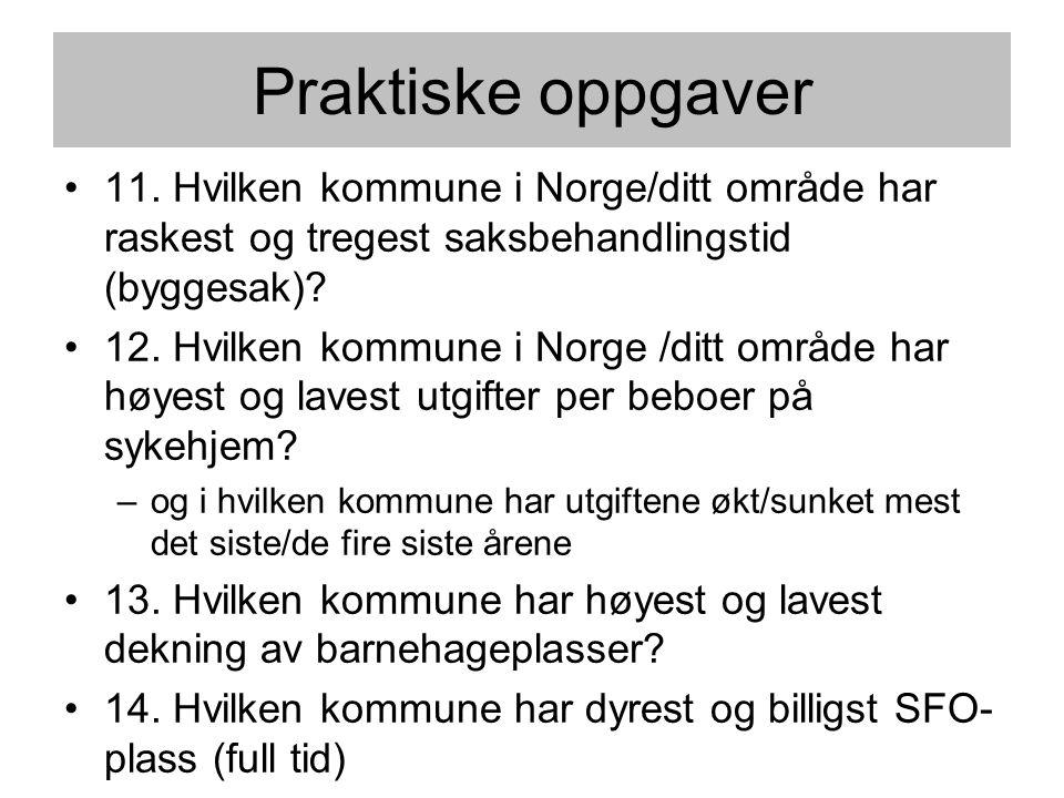 Praktiske oppgaver •11. Hvilken kommune i Norge/ditt område har raskest og tregest saksbehandlingstid (byggesak)? •12. Hvilken kommune i Norge /ditt o