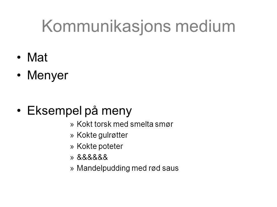 Kommunikasjons medium •Mat •Menyer •Eksempel på meny »Kokt torsk med smelta smør »Kokte gulrøtter »Kokte poteter »&&&&&& »Mandelpudding med rød saus