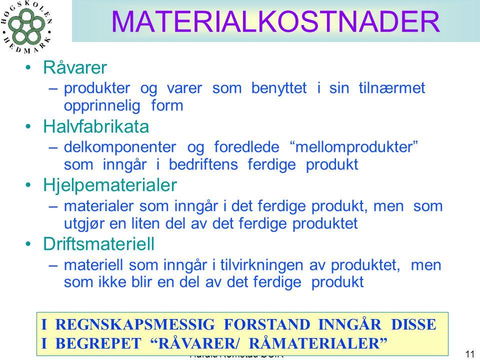 Harald Romstad ØSIR 11 MATERIALKOSTNADER •Råvarer –produkter og varer som benyttet i sin tilnærmet opprinnelig form •Halvfabrikata –delkomponenter og