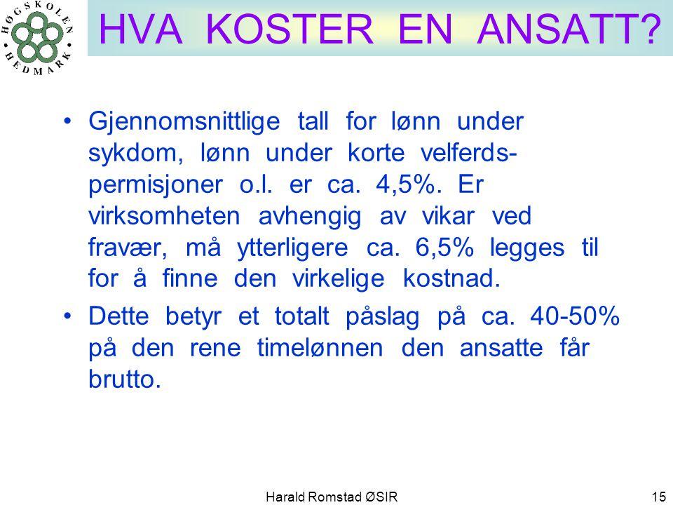 Harald Romstad ØSIR 15 HVA KOSTER EN ANSATT? •Gjennomsnittlige tall for lønn under sykdom, lønn under korte velferds- permisjoner o.l. er ca. 4,5%. Er