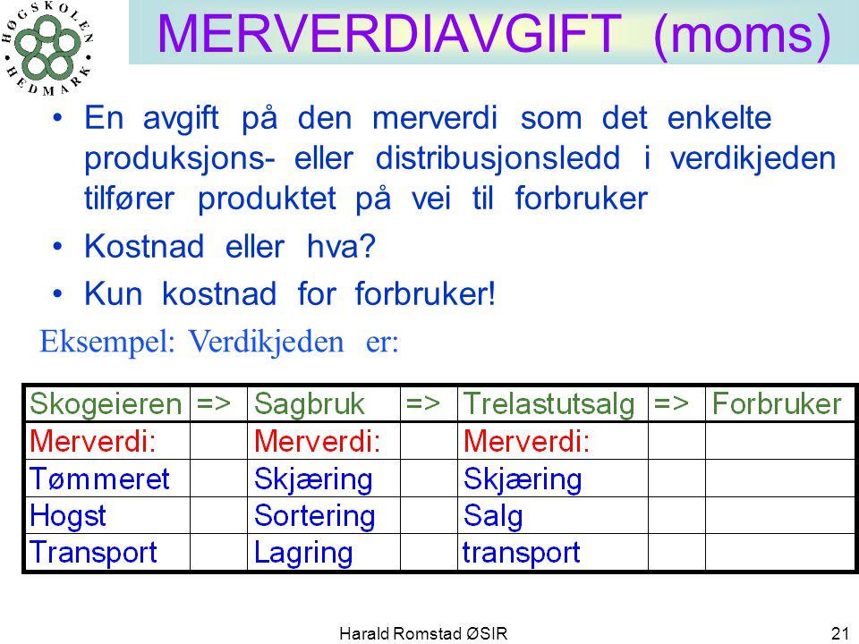 Harald Romstad ØSIR 21 MERVERDIAVGIFT (moms) •En avgift på den merverdi som det enkelte produksjons- eller distribusjonsledd i verdikjeden tilfører pr
