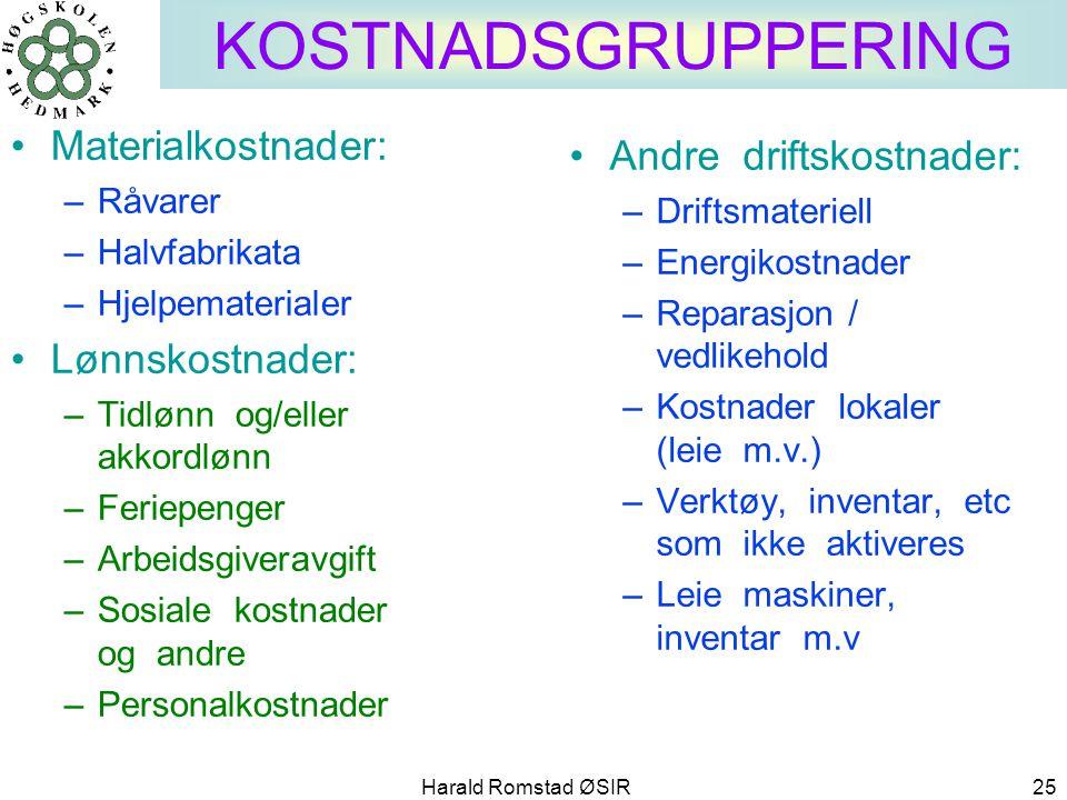 Harald Romstad ØSIR 25 KOSTNADSGRUPPERING •Materialkostnader: –Råvarer –Halvfabrikata –Hjelpematerialer •Lønnskostnader: –Tidlønn og/eller akkordlønn