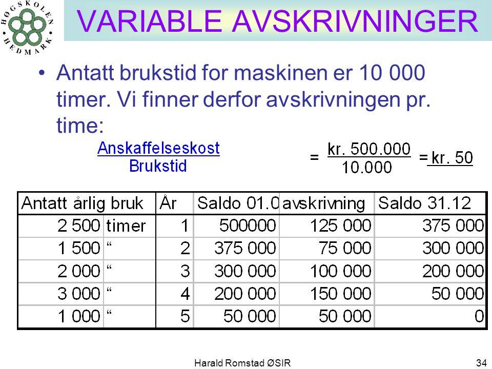Harald Romstad ØSIR 34 VARIABLE AVSKRIVNINGER •Antatt brukstid for maskinen er 10 000 timer. Vi finner derfor avskrivningen pr. time: