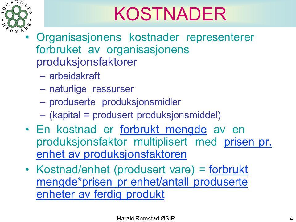 Harald Romstad ØSIR 4 KOSTNADER •Organisasjonens kostnader representerer forbruket av organisasjonens produksjonsfaktorer –arbeidskraft –naturlige res