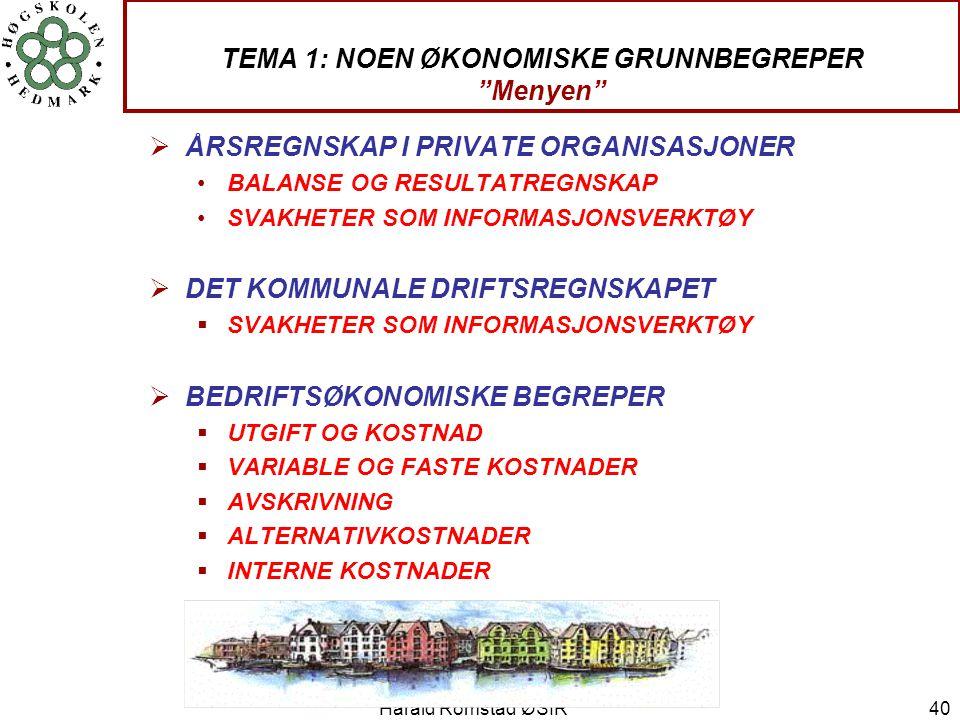 """Harald Romstad ØSIR 40 TEMA 1: NOEN ØKONOMISKE GRUNNBEGREPER """"Menyen""""  ÅRSREGNSKAP I PRIVATE ORGANISASJONER •BALANSE OG RESULTATREGNSKAP •SVAKHETER S"""