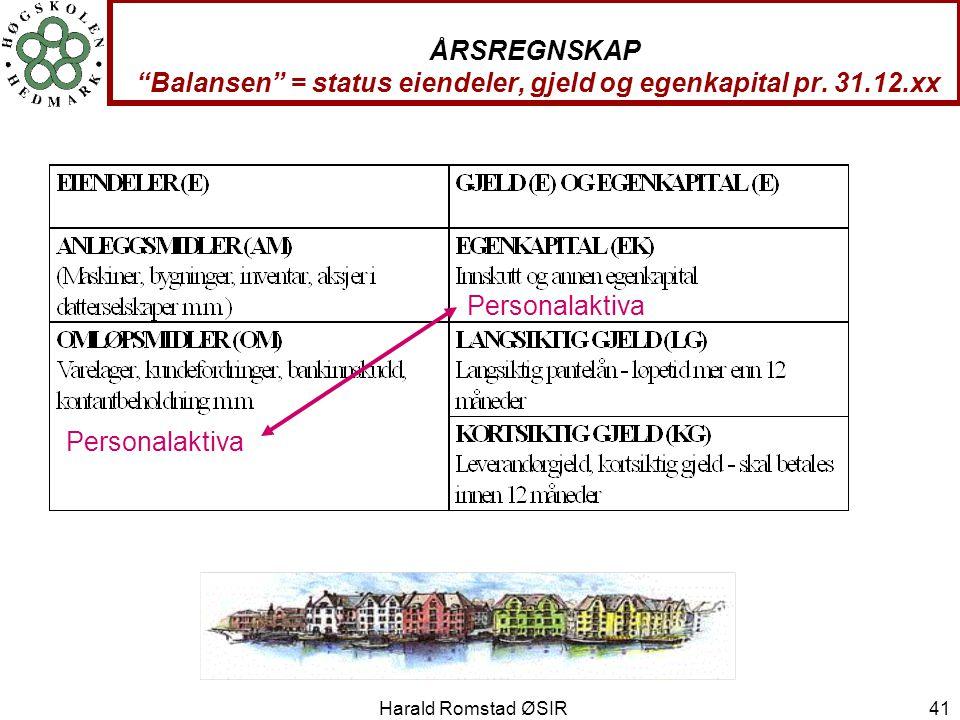 """Harald Romstad ØSIR 41 ÅRSREGNSKAP """"Balansen"""" = status eiendeler, gjeld og egenkapital pr. 31.12.xx Personalaktiva"""
