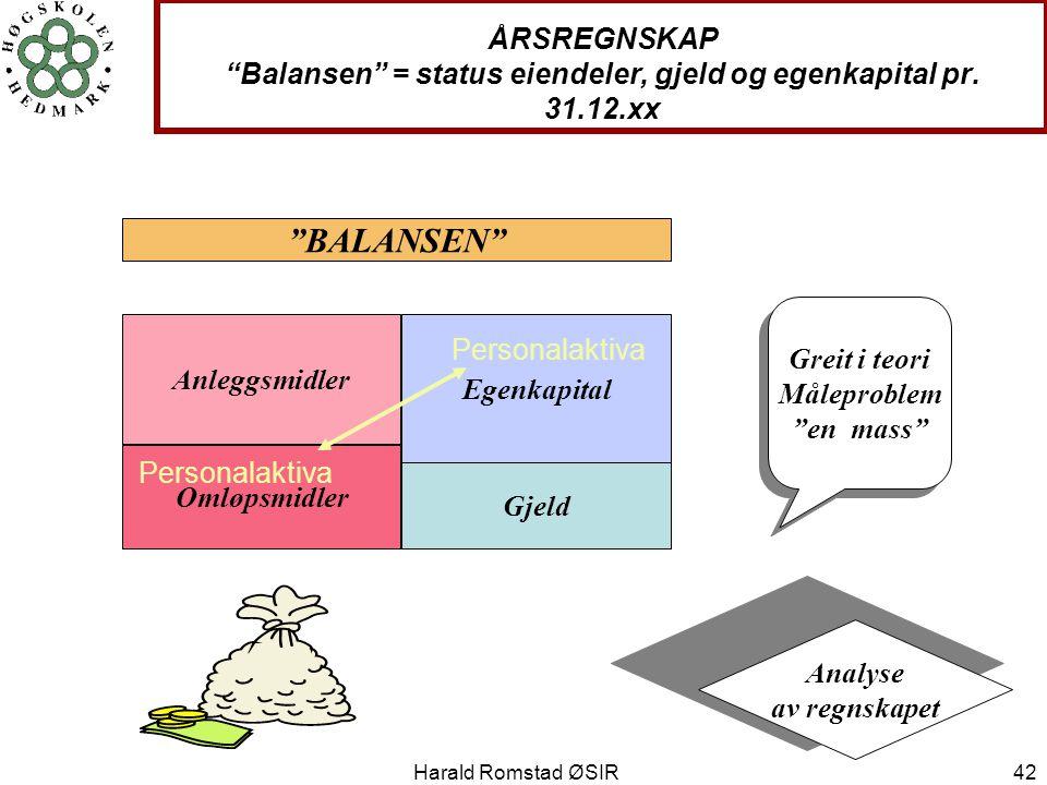 """Harald Romstad ØSIR 42 ÅRSREGNSKAP """"Balansen"""" = status eiendeler, gjeld og egenkapital pr. 31.12.xx Anleggsmidler Omløpsmidler Egenkapital Gjeld """"BALA"""