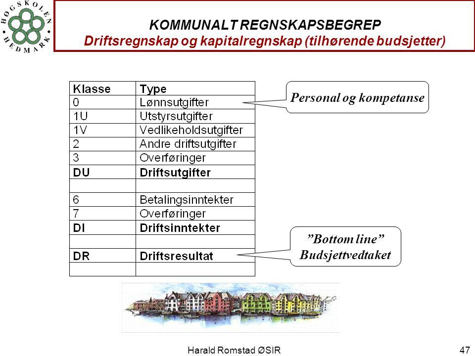 """Harald Romstad ØSIR 47 KOMMUNALT REGNSKAPSBEGREP Driftsregnskap og kapitalregnskap (tilhørende budsjetter) """"Bottom line"""" Budsjettvedtaket Personal og"""