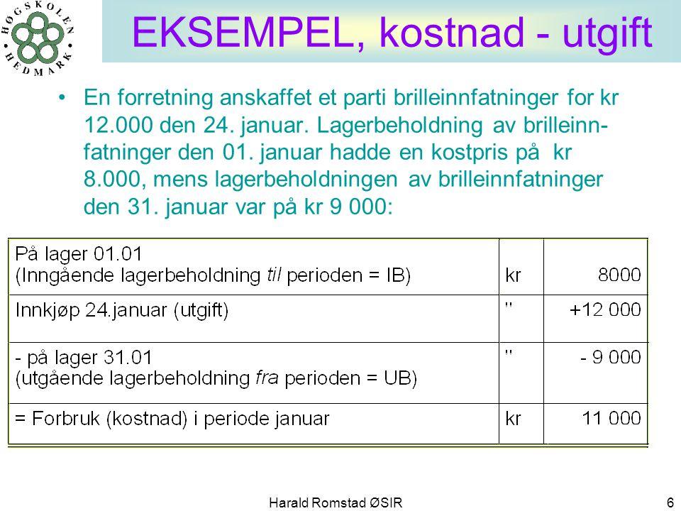 Harald Romstad ØSIR 6 EKSEMPEL, kostnad - utgift •En forretning anskaffet et parti brilleinnfatninger for kr 12.000 den 24. januar. Lagerbeholdning av
