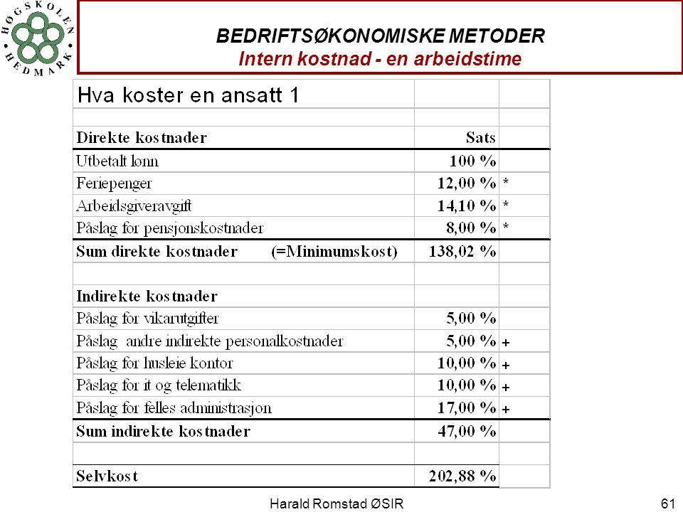 Harald Romstad ØSIR 61 BEDRIFTSØKONOMISKE METODER Intern kostnad - en arbeidstime
