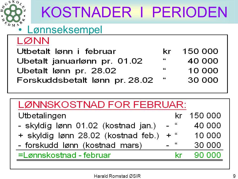 Harald Romstad ØSIR 9 KOSTNADER I PERIODEN •Lønnseksempel