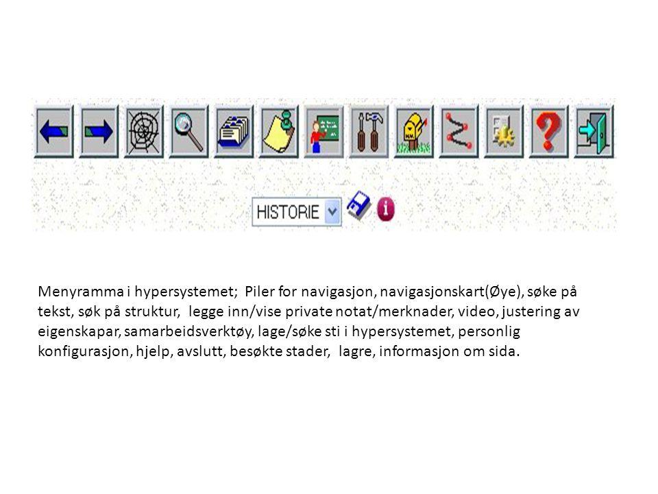 Menyramma i hypersystemet; Piler for navigasjon, navigasjonskart(Øye), søke på tekst, søk på struktur, legge inn/vise private notat/merknader, video, justering av eigenskapar, samarbeidsverktøy, lage/søke sti i hypersystemet, personlig konfigurasjon, hjelp, avslutt, besøkte stader, lagre, informasjon om sida.